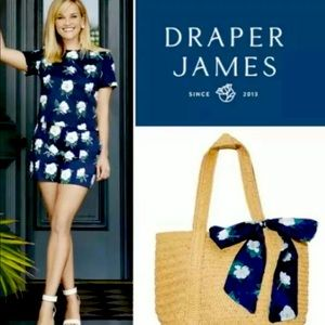 NWT Draper James Everyday Straw Tote Bag Floral